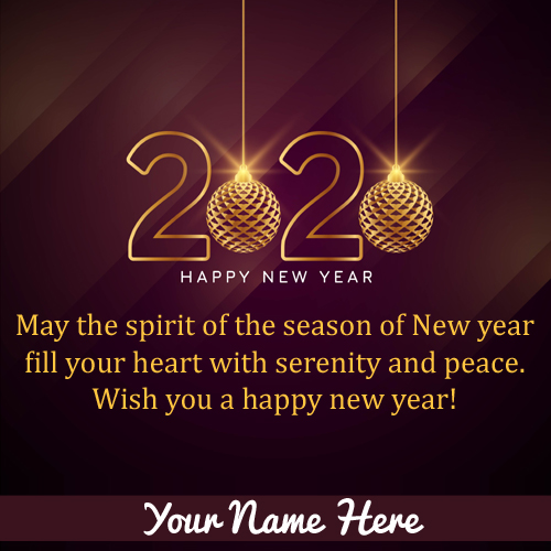 Write Name On Happy New Year 2020 Whastapp DP