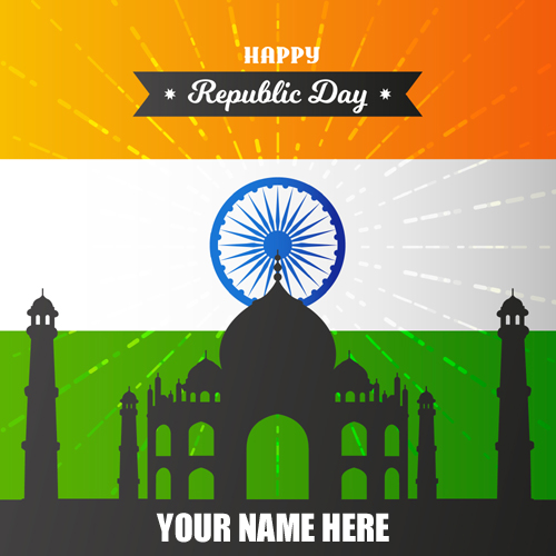 Indian Flag Republic Day Greetings With Your Name
