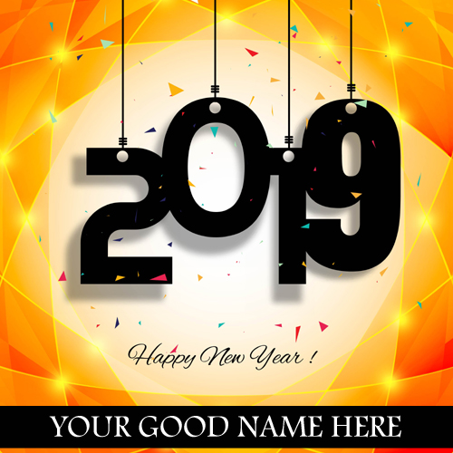 Write Name On Happy New Year 2019 Golden Wishes Card