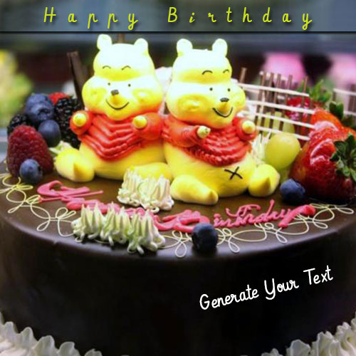 Pooh Chocolate Birthday Cake With Custom Name